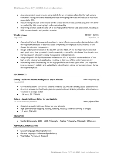 angular developer resume sample  word  pdf template   9