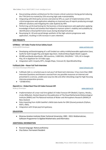 full stack developer resume sample