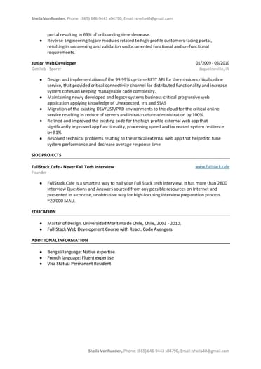 JavaScript Developer Resume Sample | FullStackResume Com