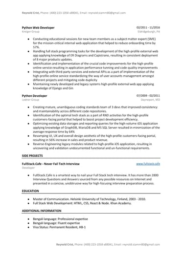 python developer resume sample  word  pdf template   9 free tips